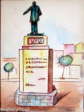 Acquerello '900 su carta Watercolor Architettura futurista cubista razionale-67