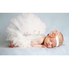 Newborn Tutu Clothes Headband Skirt Baby Girls Knitted Crochet Photo Prop Outfit