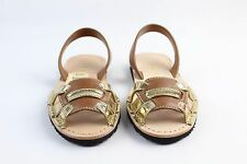 Prada Brown and Gold Slingback Flat Sandals Size 6B