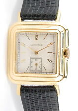 VINTAGE MENS 14K YELLOW GOLD LONGINES 8LN SQUARE CASE MANUAL WIND WRIST WATCH