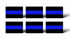 """6 MINI 1 x 1.5"""" Thin Blue Line Police Sticker Decal Car Lives Matter Tag Phone"""