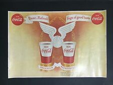 RARE 1960's COCA-COLA PAPER TRAY DINER MAT, WITH BABE RUTH LEAGUE BACK