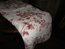 BURGUNDY RED & WHITE QUILTED FLORAL TOILE & STRIPE SMALL THROW BLANKET 58 X 48
