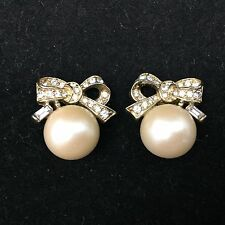 "VINTAGE NINA RICCI CLIP ON EARRINGS-GOLD COLORED-RHINESTONE RIBBONS & ""PEARLS"""