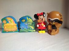 Vtg Lot of 4 Coin Piggy Still Bank Lucky Charms, A Bug's Life, Minnie, Tom Remo