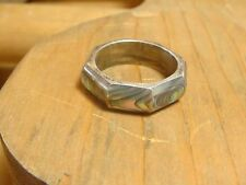 vintage taxco sterling silver abalone 925 ring 8 side polygon size 7 eagle stamp