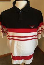 Polo Sport Ralph Lauren USA Flag Shirt Men Sz XL Black/Red/White Striped Mesh