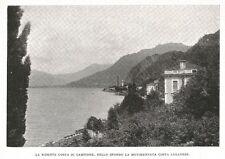 D0928 Como - Campione d'Italia - Veduta - Stampa antica del 1929 - Old Print