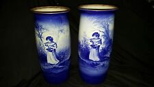 Two 34 cm Tall Royal Doulton Blue Children Vases - Early 20th Century - Rare