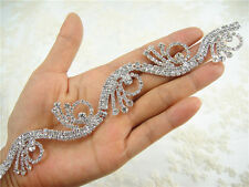 Gorgeous Diamante Rhinestone Bridal Applique Trim Beaded Motif Wedding Applique