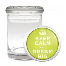 Odorless Air Tight Medical Glass Jar keep Calm and Dream Big Design-001