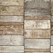 NEW GRANDECO IDECO WOOD BLOCK FAUX EFFECT REALISTIC PATTERN WALLPAPER A10503