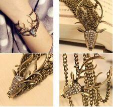 Retro Full Rhinestone Mysterious Deer Head Bracelet for women bangles New Sale