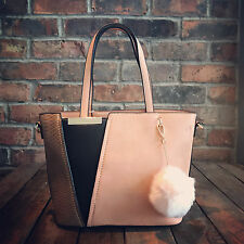 Womens Pink & Brown Moda Tote Handbag Faux Leather & Free River Island Gift