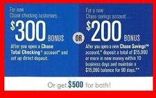 Chase $500 Bonus Offer $300 Checking $200 Savings Account Direct Deposit Req'd