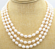 New 3 rows 8-9mm akoya Genuine natural white rice FW pearls necklace 17-19""