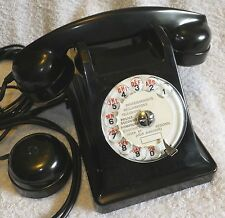 L@@K - French U43 - Rotary Dial, Desk Telephone - Black PLASTIC - made in 1948.