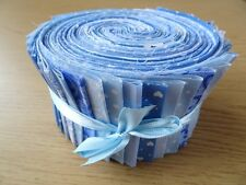 JELLY ROLL STRIPS 100% COTTON PATCHWORK FABRIC BLUE 25 PIECES