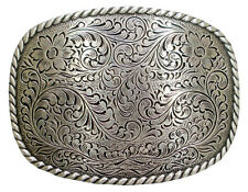 WESTERN BELT BUCKLE ROPE EDGE RODEO PLAQUE TROPHY SILVER ENGRAVED COWBOY NEW