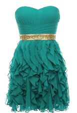 NWT ASOS CHRISTMAS PARTY GREEN GOLD RUFFLED STRAPLESS HOLIDAY DRESS S M L