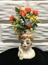 "Vintage 1963 Inarco 3-1/2""Lady Head Vase with Custom Flower Arrangement Japan"