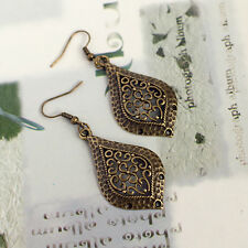 Vintage Antique Bronze Engraved Tear Drop Dangle Charm Earrings, Ladies Fashion