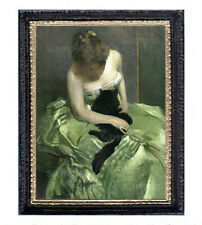 Victorian Lady In Green With Black Cat Miniature Dollhouse Picture