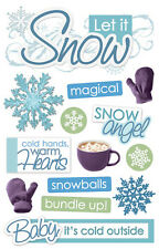 PAPER HOUSE LET IT SNOW WINTER DAY SNOWFLAKES DIMENSIONAL 3D SCRAPBOOK STICKERS