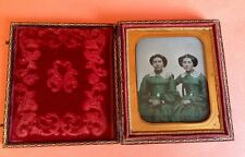 Wonderful Tinted Ambrotype Photo Beautiful Sisters Beauties Id'd