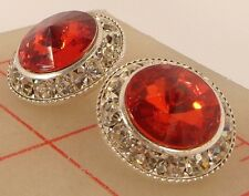 "2 silver metal rhinestone shank buttons with red acrylic jewel 3/4"" 21mm"
