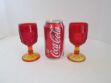 "Retro Moon and Stars Pattern Glass LE Smith Amberina 5.5"" WINE CORDIALS GOBLETS"