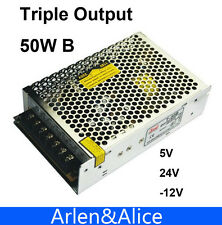 50W Triple output 5V 24V -12V Switching power supply smps AC to DC