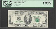 $20 1990 FRN=ERROR=INSUFFICIENT INK=MISSING MAGNETIC INK=PCGS Abt New 50PPQ