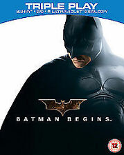 BATMAN BEGINS Triple Play Blu-Ray & DVD combo boxset 2012 knight dark ExclntCond
