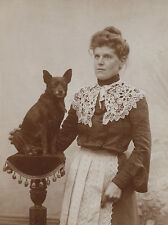 SCHIPPERKE CHARMING DOG GREETINGS NOTE CARD EDWARDIAN LADY AND DOG ON TABLE