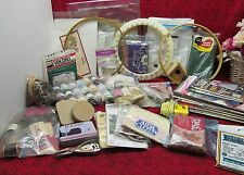 HUGE CRAFT CRAFTING SUPPLIES LOT #3 NEEDLECRAFT, LACE, HOOPS, BOOKS & MUCH MORE