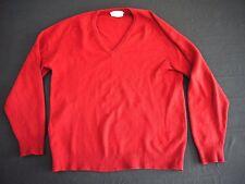 VINTAGE 60s PRINGLE of CASHMERE mens sweater 46 v neck red made in Scotland l