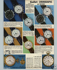 1970 PAPER AD 2 PG Gallet Galco Wrist Watch Chronograph Timers Calendar 2 Button