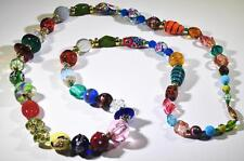 Wedding Cake Necklace Antique Glass Beads Foil Czech Murano Millifiori Bohemia