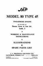 JAP Model 80 type 45 2 stroke engine instruction & parts book
