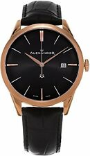 Alexander Heroic Sophisticate Black Leather Rose Gold Watch A911-05
