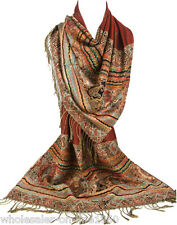 Fashion Brown Pashmina 100% Cashmere Wrap Shawl Paisley Scarf Soft Stole