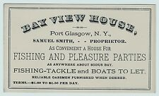 RARE Trade Card - Bay View House Port Glasgow NY Huron Sodus Fishing Tackle 1890