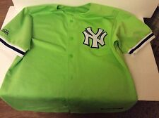 NEW YORK YANKEES NEON GREEN STITCH JERSEY MAJESTIC MLB BASEBALL VINTAGE LIME