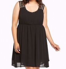 Torrid Studded Strappy Chiffon Dress Black 0X Large 12 0 #44488