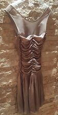 Pinko Beige Pleated Dress. Mesh Back. Size UK 8. New