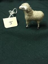 Older Vintage Tiny German Miniature Woolly Christmas Sheep W/Stick Legs-Antique