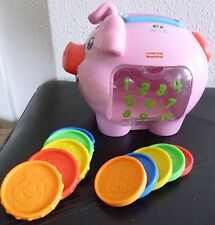Fisher-Price PINK toddler toy: PIGGY BANK, complete w 10 COINS, retired