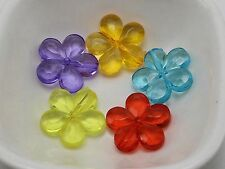 50 Mixed Colour Transparent Acrylic Flower Charm Beads 20mm