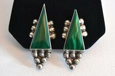 Antique Mexican Sterling Silver & Malachite Clip-back Earrings, Circa 1950's